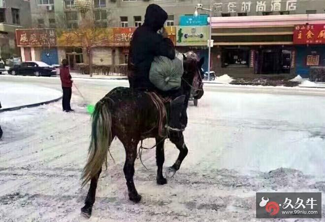 快递员骑马送包裹